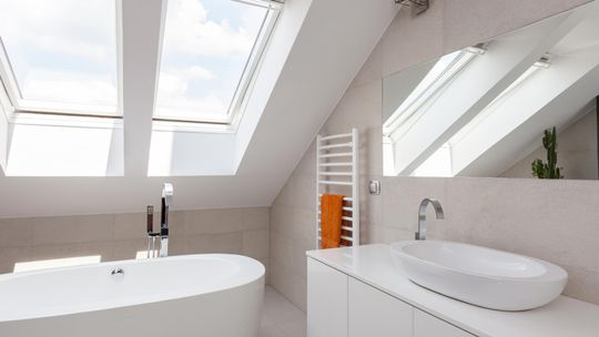 A modern bathroom with skylights